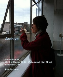 Poster illustration, woman in cap and red top looking out of an urban window