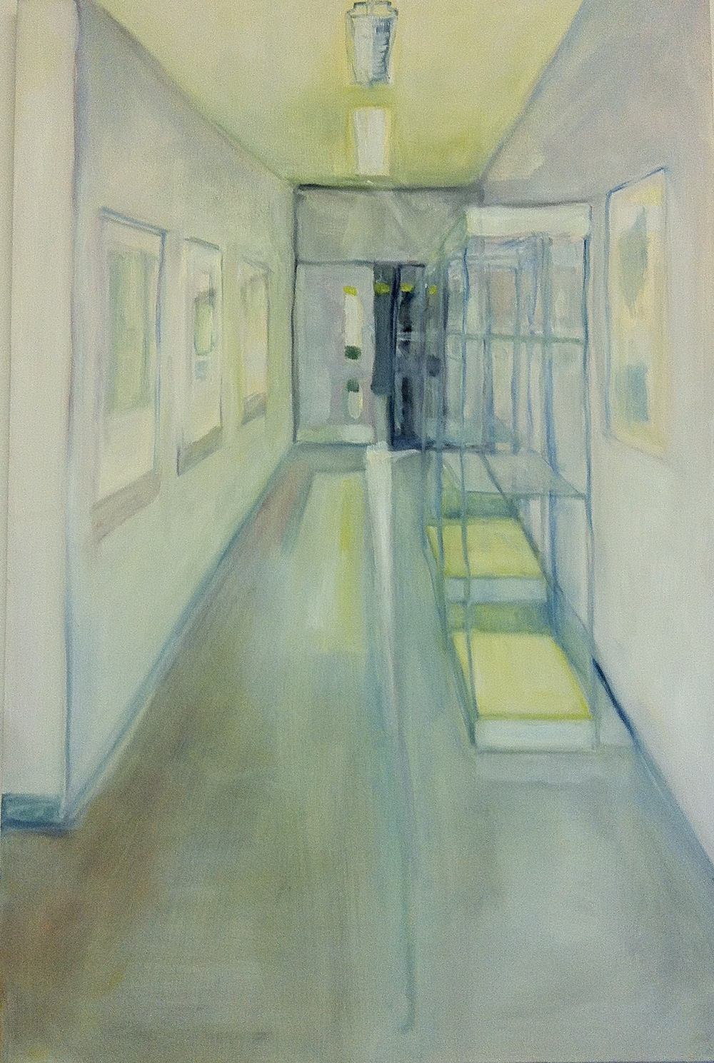 a painting of a corridor with doors at the end
