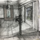 charcoal sketch of interior