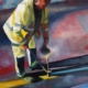Painting of man painting yellow lines on the road